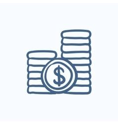 Dollar coins sketch icon vector image