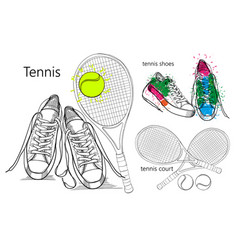 drawing set of isolated objects sneakers with vector image vector image