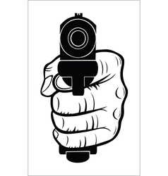 Hand pointing with the gun at you vector image