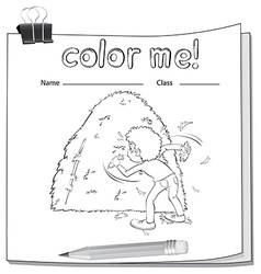 A worksheet showing a boy and a haystack vector image vector image