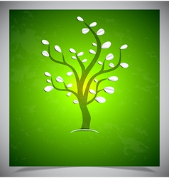 Abstract tree on green background vector image