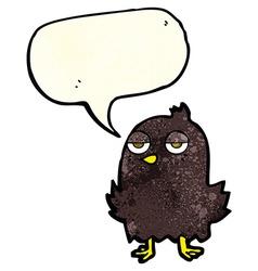 Cartoon bored bird with thought bubble vector
