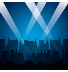 cityscape with reflector lights vector image