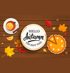 hello autumn banner in gold frame vector image vector image