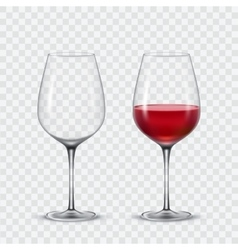 Set transparent wine glasses vector image vector image