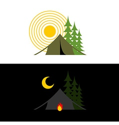 Camping day and night Landscape with tent and vector image