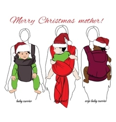 children with mothers into baby carrier and sling vector image