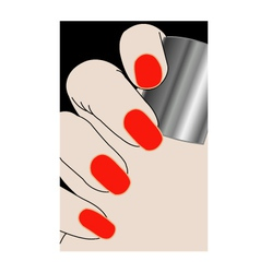 Female fingers with red varnish vector image