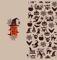 halloween with witches pumpkins ghosts vector image