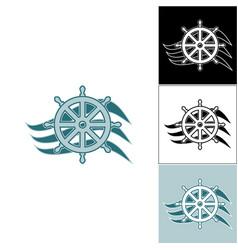 Logo marine helm on the wave vector