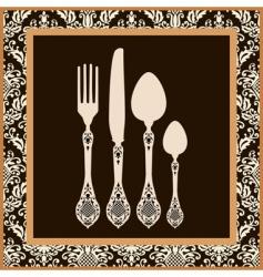 menu card design with cutlery vector image vector image
