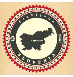 Vintage label-sticker cards of Slovenia vector image