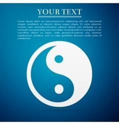 Yin Yang symbol flat icon on blue background vector image