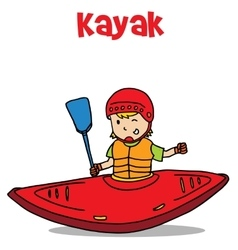 Cartoon of kayak art vector image vector image