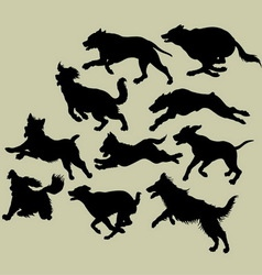 Dog Running Silhouettes vector image vector image