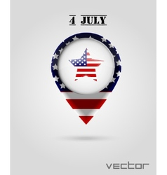 Red Map Markers 4 July Theme vector image vector image