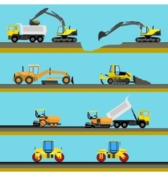 Set of seamless horizontal road construction vector image vector image