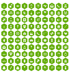 100 woman happy icons hexagon green vector