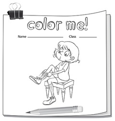 A worksheet showing a girl fixing her shoes vector