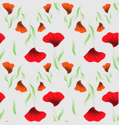 abstract floral print seamless pattern with poppy vector image