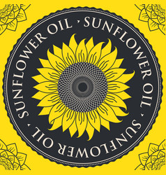 Banner for refined sunflower oil with sunflower vector