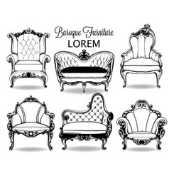 baroque armchair and sofa set french vector image