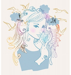 Beautiful woman with birds vector image