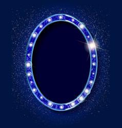 blue 3d vintage oval frame vector image