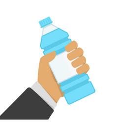 bottle of water in hand vector image