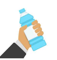 bottle water in hand vector image