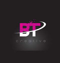 Bt b t creative letters design with white pink vector