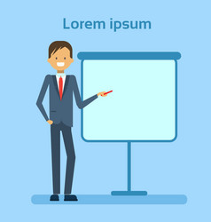 businessman pointing to empty white board showing vector image