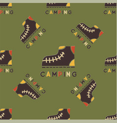 camping pattern design - outdoors adventure vector image