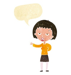 Cartoon bored woman with speech bubble vector