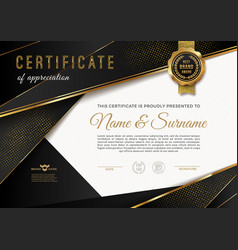 certificate template with golden elements vector image