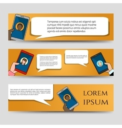 Chating icons horizontal banners template vector