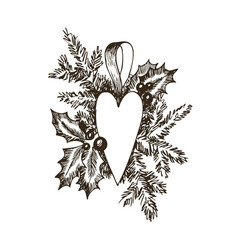 christmas hand drawn toy heart and fur tree for vector image