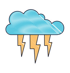 Cloud with lightnings in colored crayon silhouette vector