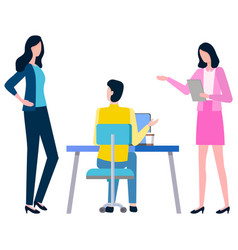 Colleagues communication cartoon man and woman vector