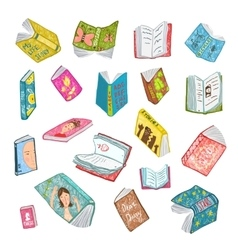 Colorful Open Books Drawing Library Collection vector