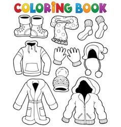 coloring book clothes theme 3 vector image