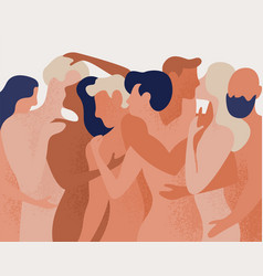 Crowd of naked men and women hugging and kissing vector