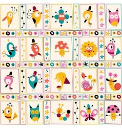 Cute characters nature pattern 2 vector