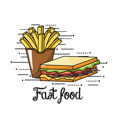 delicious fries french and sandwich fast food vector image