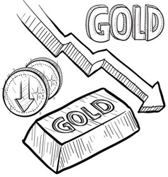 doodle currency gold decrease vector image