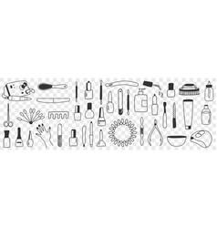 equipment for manicure doodle set vector image