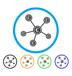 Euro network structure rounded icon vector