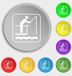 fishing icon sign Symbol on eight flat buttons vector image