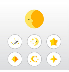 Flat icon midnight set of bedtime nighttime vector