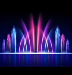 Fountain night realistic image vector